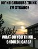 My neighbours think I'm strange