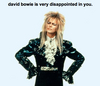 Bowie is disappointed of you